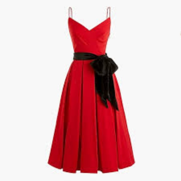 J. Crew Dresses & Skirts - J CrewA-line spaghetti-strap dress velvet tie-NWT